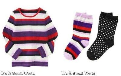 Gymboree Winter Penguin Purple Stripe Tee & Polka Dot Chenille Sock Set Sz 6 NWT Polka Dot Tee-set
