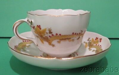 Meissen Yellow Dragon Red Dot Accent Flat Cup & Saucer Set