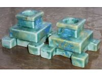 Beautiful Pair Of Art Deco Drizzle Glaze Candle Stands - Holders Sticks