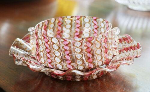 Murano ruffled zanferico bowl and underplate, head prunts, 1920s [12078]