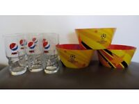 Limited Edition Pepsi Glasses + Walkers Champions League Football Snack Bowls.