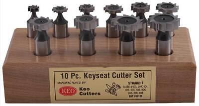 10 Pcs. Keo American Standard Straight Teeth Woodruff Keyseat Cutters Set