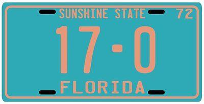 Miami Dolphins Perfect Season '72 Florida License plate