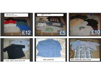 bundle of mens t-shirts size small jeans 28inch prices on pics £30 the lot or prices in pictures