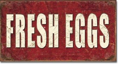 Fresh Eggs For Sale Farm Market Kitchen Rustic Wall Art Decor Metal Sign