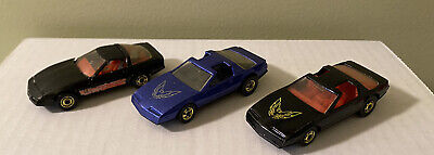 HOT WHEELS 3 Car Lot, (1) 80's Corvette (2) 80's Firebirds Loose Preowned