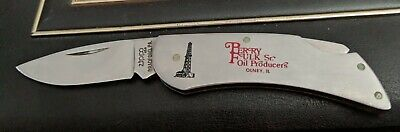 Vtg Zippo 1 Blade Folding Pocket Knife Advertising Perry Fulk Sr. OIL , Olney IL