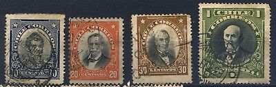 CHILE four 1911 Famous people used stamps