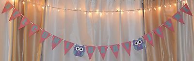 its a girl baby shower custom name pink coral blue purple owls hanging banner - Purple Owl Baby Shower