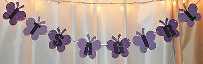purple, lavender butterfly baby shower its a girl happy birthday hanging banner  - Purple Birthday Banner