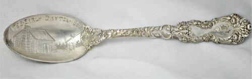 "Antique 1896 Dayton Ohio Log Cabin 5"" Sterling Silver Souvenir Spoon Gorham"
