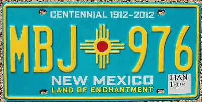 NEW MEXICO Turquoise CENTENNIAL Zia Sun License Plate - Random Letters - NM