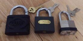 THREE HEAVY DUTY PADLOCKS WITH KEYS