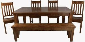 Mennonite made solid wood harvest dining table set
