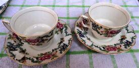 A Pair of Royal Doulton Booths Floradora - Teacup and Saucer