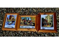 Three matching framed A4 prints of vintage railway posters
