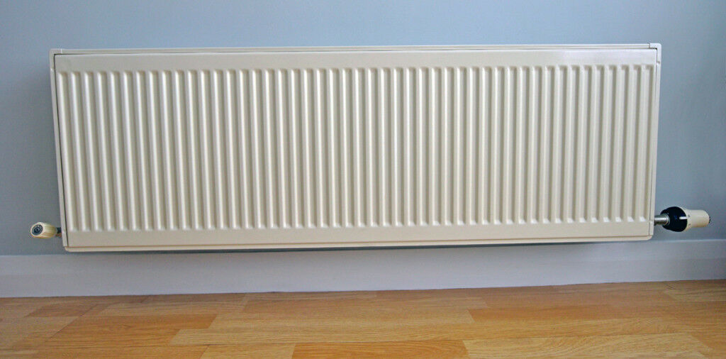 Off White Central Heating Double Radiator With Danfoss Thermostatic