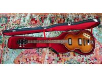 ELECTRIC BASS GUITAR VIOLIN EPIPHONE SUNBURST PLUS SCULPTURED HARD CASE IN GREAT CONDITION