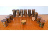 Set of HORNSEA BRONTE herb and spice jars + 2