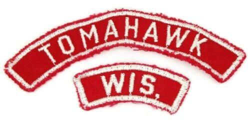 Vintage Tomahawk, WI Red White RWS Community Strip Patch Boy Scouts BSA