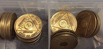 Serenity Prayer Medallion AA Alcoholics Anonymous Bronze Chip Coin Recovery Qt 1