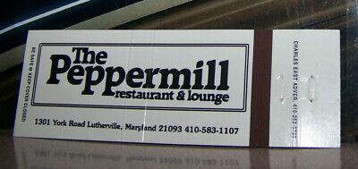 Vintage Matchbook C4 Lutherville Mayland Peppermill Lounge Restaurant York Rd comprar usado  Enviando para Brazil