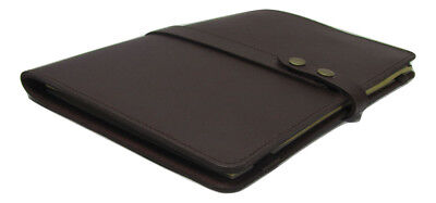 Brown Real Leather A4 Folder Organiser Portfolio Option To Personalise Pa109