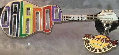 "Hard Rock Cafe ORLANDO 2015 GAY PRIDE PIN Rainbow ""ORLANDO"" Cutout Guitar New!"