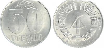 DDR, Fehlprägung: 50 Pfennig in Aluminium 1971 mit großem Zainende vz-st