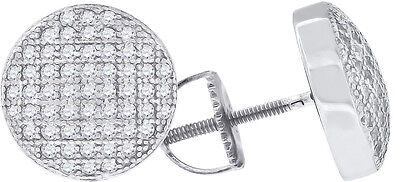 White Gold Over Sterling Silver Lab Diamond 3 Row 3D Cylinder Stud Earrings 10MM