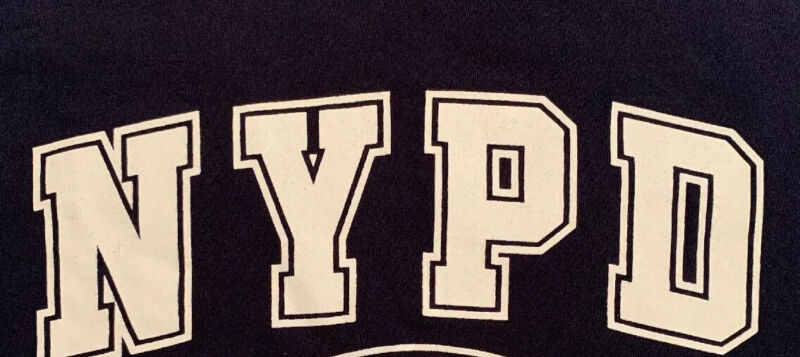 NYPD New York City Police Department NYC T-Shirt Sz L Football NYC Finest PBA