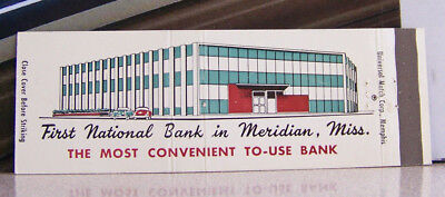 Rare Vintage Matchbook N1 Meridian Mississipipi First National Banks W Cars
