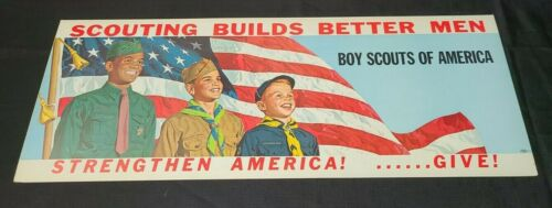 VINTAGE BOY SCOUTS OF AMERICA CARDBOARD TROLLEY SIGN SCOUTING BUILDS BETTER MEN