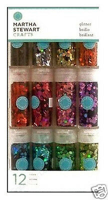 MARTHA STEWART CRAFTS HEX GLITTER SET 12 Colors BEAUTIFUL!