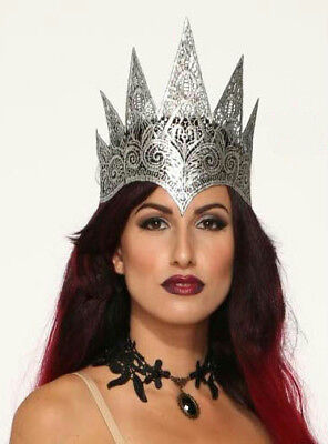 Dark Royalty Silver Lace Queen Crown Costume Crown](Queen Crown Costume)