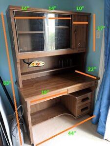 Office Desk Shelf Combination in Brown