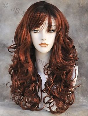 BOUNCY LONG WAVY Curly RED RED mix WIG with bangs JSCA Sangaria (Long Red Wig With Bangs)