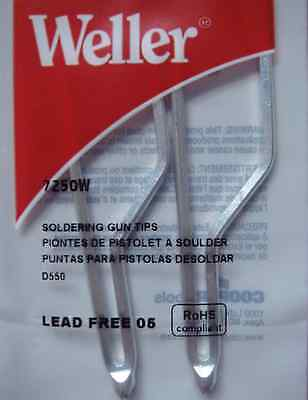 Weller 7250w Standard Soldering Tips 2per Pack For D550 And D650 Soldering Gun