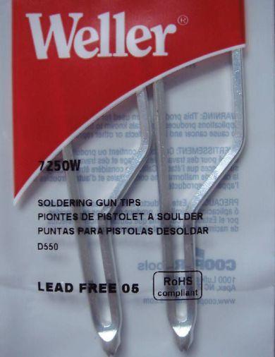 Weller 7250W Standard Soldering tips 2/per pack for D550 and D650 soldering gun