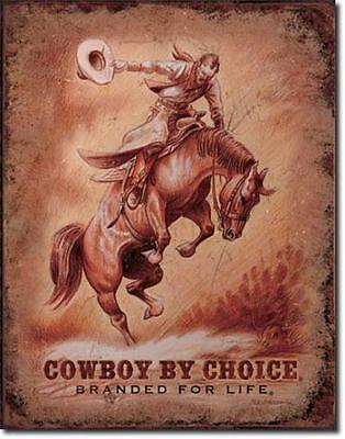 Cowboy by Choice USA Wildwest Reiten Pferde Metall Deko Plakat