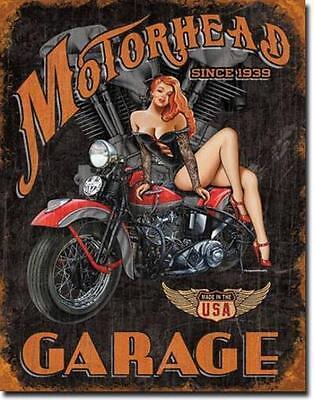 Motorhead Garage Sexy Biker Motorrad USA Vintage Style Deko Metall Schild