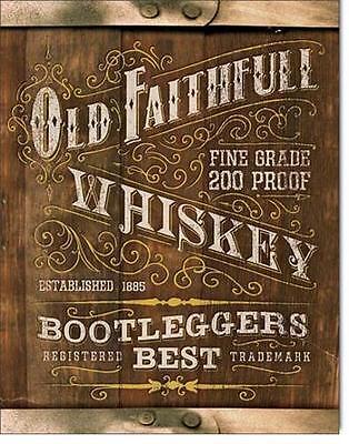 Old Faithfull Bootleg Whiskey USA Metall Werbung Vintage Design Schild