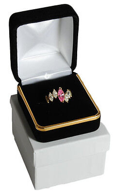 Black Velvet Ring Jewelry Gift Boxes With Gold Trim 1 78 X 2 18 X 1 12h