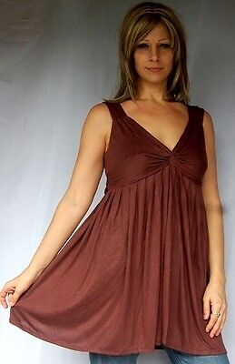 Brown Cami Top Blouse Ties Baby Doll Jersey S M L Zs917