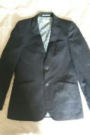 John lewis heirloom collection boys linen suit jacket and trousers navy age 11-12.