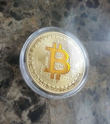 1Oz 24K Gold Plated Copper Physical Bitcoin Crypto Coin Round   Fast Shipping