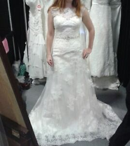 Size 8 A-line sleeveless wedding gown