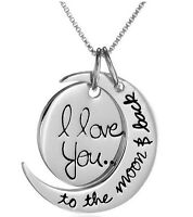 """I Love You To The Moon and Back"" Two-Piece Pendant Necklace,18"""