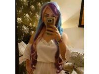 Multi coloured mermaid wig