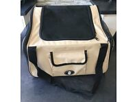 USED CREAM - DOG/PUPPY/CAT CAR TRAVEL/SAFETY SEAT/CARRY CRATE/CARRIER BAG